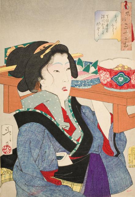 LACMA Woodbock Print Waitress Tsukioka Yoshitoshi