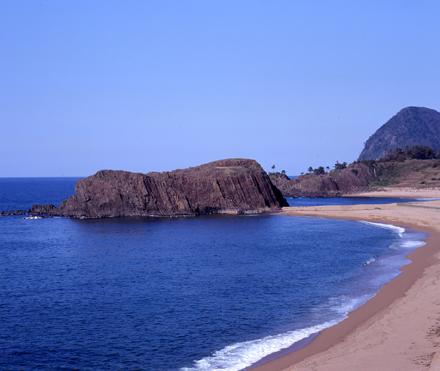 Rock on seashore in Kyotango City