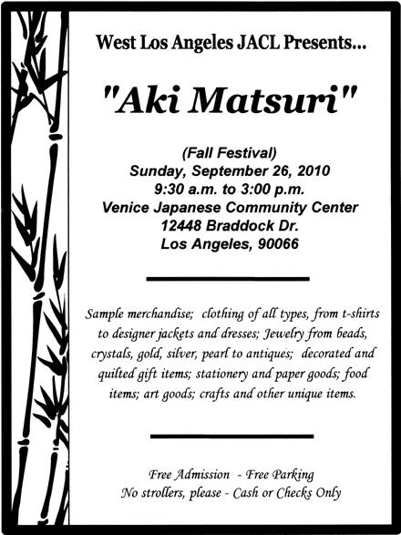 Nikkei Calendar: Aki Matsuri (Autumn Festival) Boutique for fundraising of West LA Japanese American activities, Sept 26