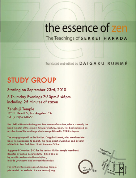 Zen study group to read The Essence of Zen: The Teaching of Sekkei Harada starting Sept 23