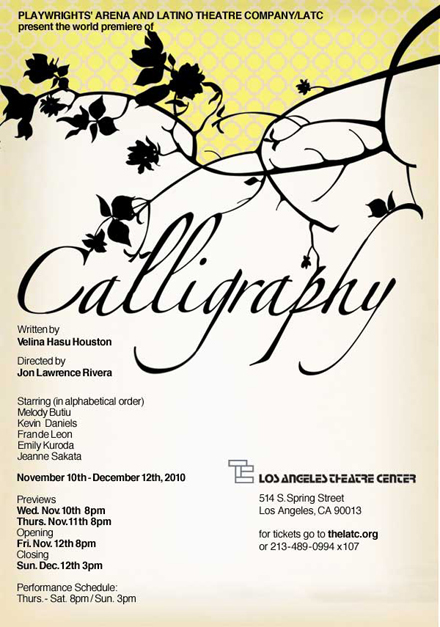 "Theatre: Velina Hasu Houston's ""Calligraphy"" depicting two aging mothers of an interracial family in Tokyo and Los Angeles, Nov 12 – Dec 12"