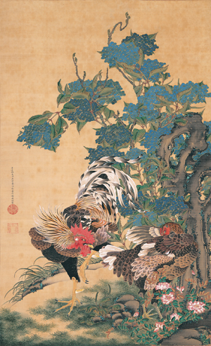 Ito Jakuchu Rooster Hen and Hydrangea
