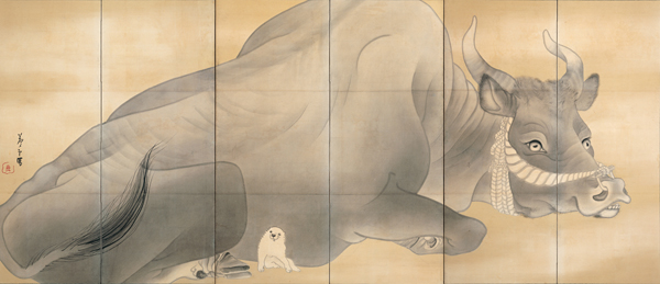 Left panel of Bull and Elephant, Nagasawa Rosetsu (1754-1799) Edo period, 18th century. Pair of six-panel folding screens, ink on paper. Each 155 x 359 cm. Estuko and Joe Price Collection. (Courtesy of the Bowers Museum)