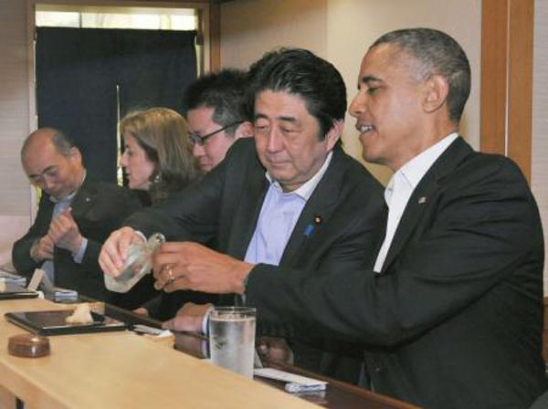 Obama Abe Sukiyabashi Jiro