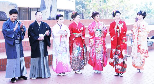 LA Kimono Contest: Shown are 2014 contestants at Noguchi Plaza in Little Tokyo. (Courtesy of LA Kimono Club)