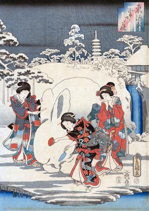Hiroshige, Tale of Genji: Murasaki and Genji Enjoying the Snow, (detail), woodblock print, 14 1/4 x 29 5/8, Gift of Mrs. James W. Johnson, Scripps College, Claremont, CA