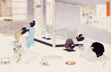 Women's Chanoyu practice scene (Collection of the Konnichian Library, Kyoto)