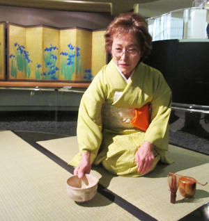 Ms. Soko Hori of Omote Senke association demonstrates the art of tea at the Japanese Pavilion of LACMA. The weekend tea ceremonies will be presented Urasenka association and Urasenke association.