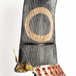 Domaru Tosei Gusoku armor from early Edo period (1603 – 1650). The helmet is  Akodanari Sujibachi Kabuto (melon shaped helmet of 18 muscle) with a Medate of a mythical Shinto daemon called a Oni. (Courtesy of the Santa Ynez Valley Historical Museum)