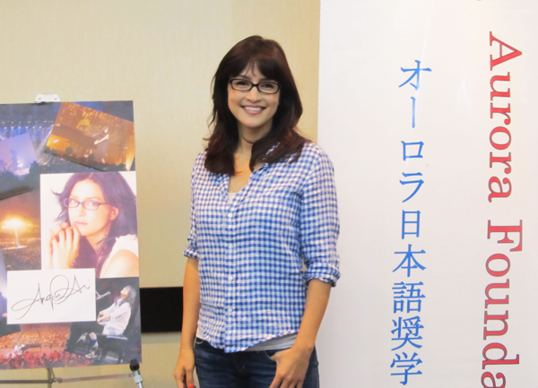 Angela Aki is introduced to Japanese press as the featured artist for the annual benefit concert by Aurora Foundation. (Cultural News Photo)