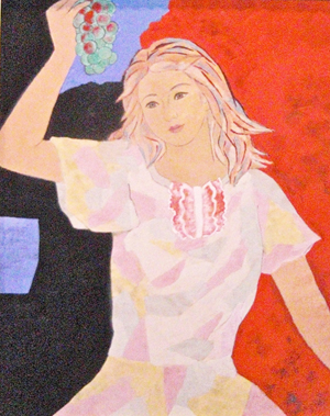 """Mie Suzuki, """"A Girl with Grapes"""" 91 x 73 cm"""