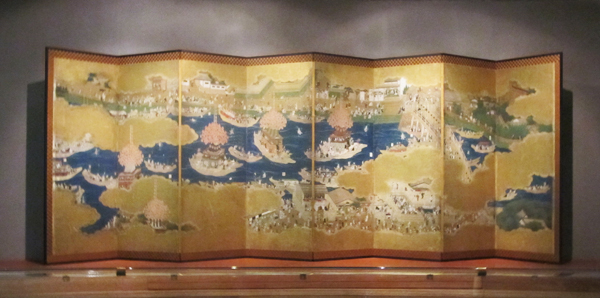 """Nigh Festival of Tsushima Shrine"" early Edo period, eight-panel screens"