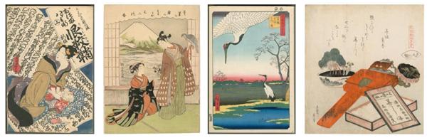 From left, artworks by Utagawa Kunisada, Suzuki Harunobu, Utagawa Hiroshige, and Katsushika Hokusai. (Barbara Bowman Collection. Photo © 2015 Museum Associates/ LACMA)