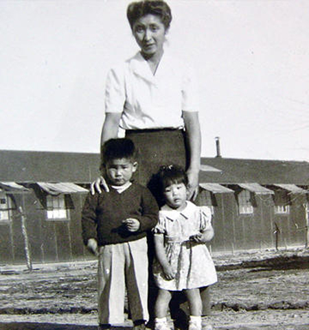 Shizuko Ina with her children, four-year-old Kiyoshi and two-year-old Satsuki, at Tule Lake Segregation Center in 1946; photo courtesy of Satsuki Ina (Source: Skirball Cultural Center)