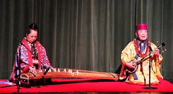 Kastuko Teruya (left) on koto and Choichi Terukina on sanshin (Courtesy of Koyokai)