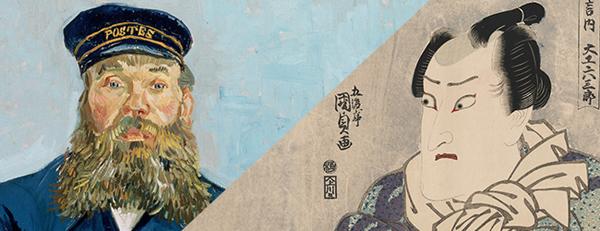 """Postman Joseph Roulin"" (left), 1888, by Vincent van Gogh (1853-1890): ""Actor Onoe Matsusuke I,"" approx. 1814–1815, by Utagawa Kunisada I (Toyokuni III; Japanese, 1786–1864). Photograph © 2015, The Museum of Fine Art, Boston."