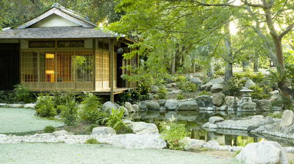A teahouse named Niko-An is rebuilt beside a pond of a Japanese garden which was created 80 years ago in Pasadena's historical residential area. (Courtesy of the Storrier Stearns Japanese Garden)