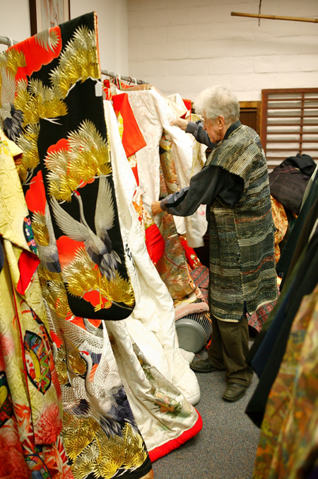 John McMullen and his kimono collection in the May 2012 KCET photo by Daniel Huber