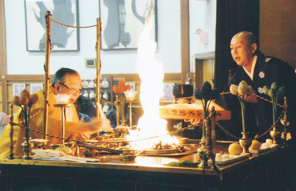 """Esoteric Buddhist fire rite """"Goma"""" service will be held on Friday, January 1, at 10 am, 2 pm, and 4 pm at Koyasan Buddhist Temple of Los Angeles. (Courtesy of Koyasan Buddhist Temple)"""