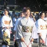Los Angeles Bando Ryu dancers at the 2015 Nisei Week Grand Parade. (Cultural News Photo)