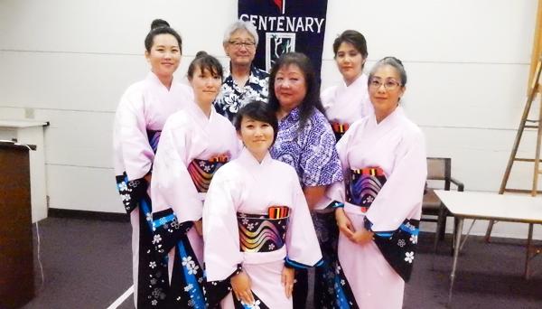 Hanayagi Rokufukumi's setudents: Marci Asao, Alyssa Asao, Ayako Toma, Jeane Hamabe, Flora Uyehara