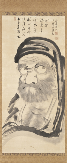 Taikan Monju (1766 – 1842) Bodhidharma (Daruma) 1836, Hanging scroll: ink on paper. Gift of Leslie Prince Salzman.  Photo © Museum Associates/LACMA Unkoku Tōgan, The Monk from Danxia Burning a Wooden Image of the Buddha, late 16th-early 17th century. Gift of Anna Bing Arnold, Museum Acquisition Fund, and the Far Eastern Art Council. Photo © Museum Associates/LACMA
