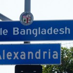 """""""Little Bangladesh"""" sign is placed by the City of Los Angeles at the corner of Third Street and Alexandria Ave in the Koreatown, Los Angeles. (Cultural News Photo)"""