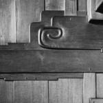 "Yasuhiro Ishimoto, ""Robert R. Blacker house, front entry detail"" (Greene and Greene, architects), 1974, gelatin silver print, 7 3/16 x 10 3/16 in. © Kochi Prefecture, Ishimoto Yasuhiro Photo Center."