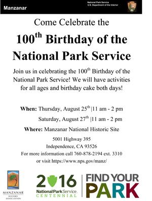 Manzanar 100th NPS birthday celebration