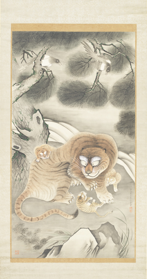 "Tani Buncho ""Tiger Family and Magpies"" 1807 (Bunka 4). Hanging Scroll: ink and color on silk. Image: 61 15/16 x 33 ¾ in. (Courtesy of the LACMA)"