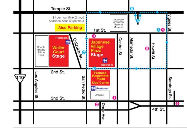 Shuttle services provided by Metro / Shuttle Station A: Mangrove Parking / B: Little Tokyo-Arts District Goldline Station / C: Weller Court / D: Frances Hashimoto Plaza / E: Nishi Hongwanji Buddhist Temple ///// TEMPLE 1: Higashi Honganji Buddhist Temple / 2: Jodoshu North America Buddhist Missions / 3: Koyasan Buddhist Temple / 4: Nishi Hongwanji Buddhist Temple / 5: Nichiren Buddhist Temple / 6: Zenshuji Soto Mission