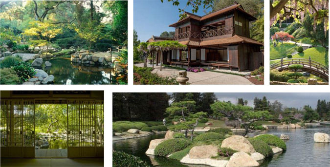 Clockwise from top left: Japanese garden at Descanso, Japanese House and garden at the Huntington, Storrier-Stearns Japanese Garden, SuiHoen at Tillman Water Reclamation Plant.