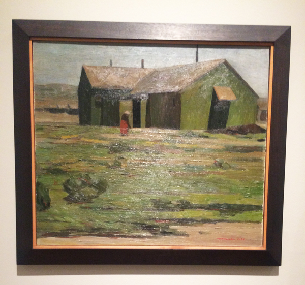 "Taneyuki Dan Harada ""Barracks, Tulu Lake, 1945"" displayed at the Los Angeles County Museum of Art."
