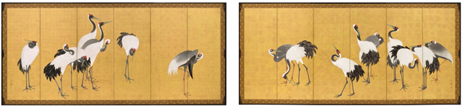 Maruyama Okyo, Cranes, 1772, Pair of six panel screens; ink, color, and gold leaf on paper; Mount 67 ¼ x 137 ¾ x ¾ in. each, Los Angeles County Museum of Art, Gift of Camilla Chandler Frost in honor of Robert T. Singer. Photo © 2012 Museum Associates / LACMA