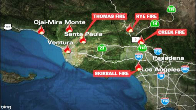 Los Angeles Wildfire Map 2017 / Wildfires: Firefighter from San Diego killed in Thomas fire